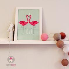 Flamingo baby room nursery flammingi poster illustration for kids mint pink wall decor