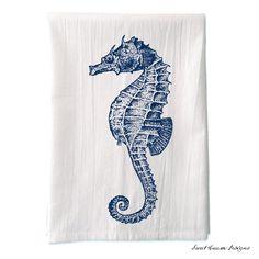 Seahorse Tea Towel  Screen Printed Flour Sack door SweetCreamDesigns, $14,00