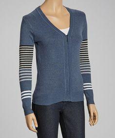 Loving this Denim Blue & White Stripe Accent Zip-Up Sweater on #zulily! #zulilyfinds $14.99