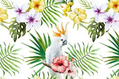 Tropical Watercolor Pattern by Lembrik's Artworks on @creativemarket