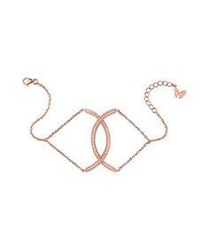 Rose gold-plated curve crystal bracelet Sale - VAMP LONDON Sale