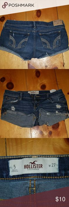Hollister shorts Hollister shorts with a little bit of distressing. So cute. Just don't fit anymore. Hollister Shorts Jean Shorts
