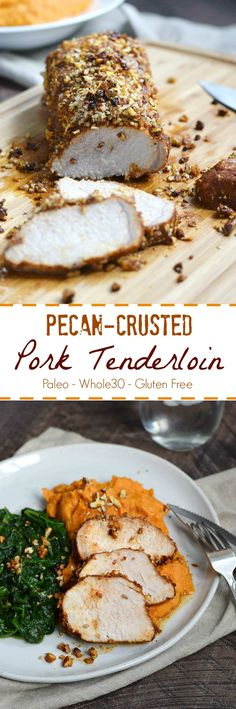 Jazz up your dinner with this tender and delicious Pecan-Crusted pork Tenderloin served with Mashed Sweet Potatoes and your choice of vegetables | cookingwithcurlsc.om