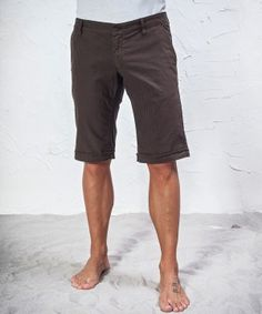 #45parallelo: brown striped #bermuda #shorts, dyed for a worn effect, 98% Cotton and 2% Elastane