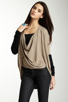 Contrast Sleeve Cowl Neck Sweater