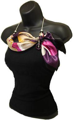 Purple Kafari Scarf Necklace with Purple Togua Nut charm & slide, and a silver chain with Pandora Beads. www.kafariscarf.com