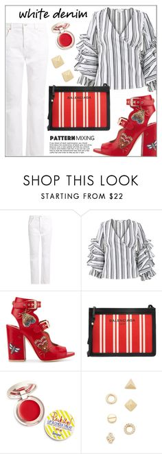 """Bright White: Summer Denim"" by pat912 ❤ liked on Polyvore featuring Balenciaga, Caroline Constas, Laurence Dacade, Supergoop!, Shashi, whitejeans, polyvoreeditorial and patternmixing"