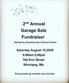 GARAGE SALE AT THE SCANDINAVIAN CULTURAL CENTRE!! Saturday, August 15th from 9am - 2pm at 764 Erin Street!! #winnipeg *We will be following all Covid requirements.