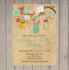 Erwachsene Geburtstag Einladung, Einladung Meilenstein Geburtstag, 30., 40., 50., 60., 70., 80. Herbst, Vintage-Stil, rustikale Mason-Gläser 6015
