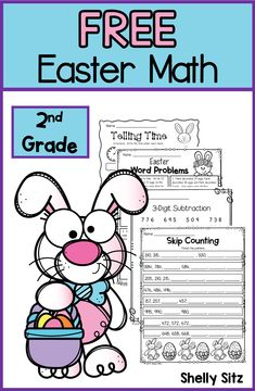 Easter Math Freebie for grade Second grade math freebie includes addition and subtraction, skip counting, telling time to the nearest 5 minutes, word problems, and missing addends. Easter Worksheets, 2nd Grade Worksheets, 2nd Grade Classroom, Math Classroom, Addition And Subtraction Worksheets, Math Lesson Plans, Skip Counting, Teaching Math, Teaching Spanish