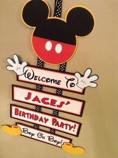 Mickey Mouse Clubhouse Oh Toodles Handmade Personalized Welcome Sign Birthday Baby Shower Más Fiesta Mickey Mouse, Mickey Mouse Parties, Baby Mickey, Mickey Party, Mickey Mouse Clubhouse Birthday Party, Mickey Mouse Birthday, 2nd Birthday Parties, Birthday Ideas, Decoration Buffet