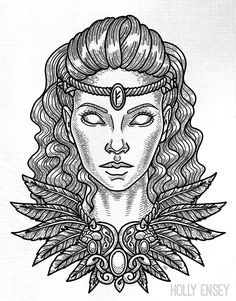 Viking/Norse goddess Freya line art illustration by Holly Ensey. Freya is the goddess of love, war, sex, death, magic, and fertility.