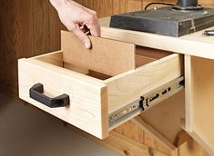 This two-part upgrade adds accuracy and storage in a small footprint. Drill Press Stand, Drill Press Table, Woodworking Bench, Woodworking Projects, Woodsmith Plans, Woodshop Tools, Building A Workbench, Tool Storage, Storage Cabinets