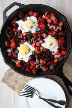 beet and sweet potato hash- I didn't find this all cooked together at the same time or easily. Maybe it's my lack of a real iron skillet. -VM