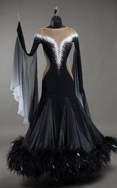 Black Standard with Pearls — DORÉ DESIGNS Latin Dance Dresses, Ballroom Dance Dresses, Ballroom Dancing, Dance Outfits, Dress Outfits, Burlesque Dress, 1940s Dresses, Occasion Dresses, Dance Wear