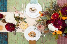 patterned, pink and inviting -  an autumn or Thanksgiving table setting / Justine Blakely