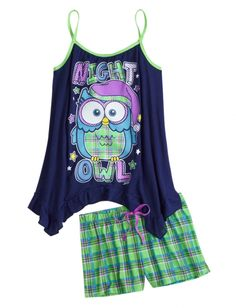 Owl Tank And Short Pajama Set | Girls Pajamas Clothes | Shop Justice
