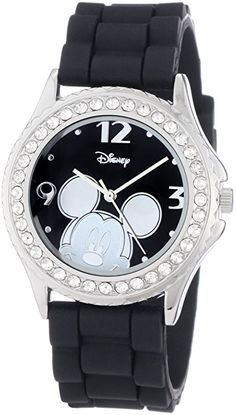 Amazon.com: Disney Women's MK1094 Rhinestone-Accented Mickey Mouse Watch with Black Rubber Band: Disney: Watches