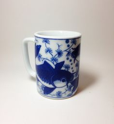 Vintage blue and white mug with koi by tompkinsoriginal on Etsy