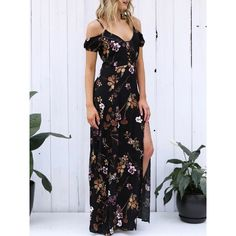 Bohemia Floral-Printed Off-the-shoulder Puff-sleeves Mini Dress ($25) ❤ liked on Polyvore featuring dresses, chiffon dress, chiffon beach dress, v neck chiffon dress, beachy dresses and v-neck maxi dresses