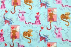 Kitty Cat Fabric 1 Metre Cotton Fabric, Cat Fabric on Blue Fabric, Case, Book Cover, Purse, Scrapbooking by PloyjaiFabric on Etsy