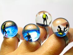 Diver in a tank. Resin ring. Resin jewelry. by GoldFingerBarcelona, $25.00