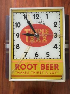 Vintage RARE Triple XXX Rootbeer Lighted Advertising Clock Sign Neon Products | eBay