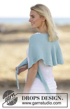 "200g 3mm sport yarn Knitted DROPS shawl in garter st with wave pattern in ""Baby Merino"". ~ DROPS Design"