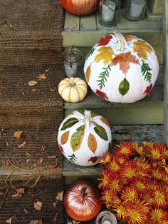 Celebrate autumn leaf-peeping by turning your pumpkin into a canvas for nature's warm and inviting colors.