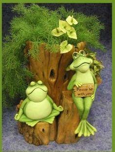 frogs and planter set $35.00 glazed inside planter. Visit my website