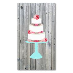 Cute Pink Floral Wedding Cake Teal Stand Wood Business Card. This is a fully customizable business card and available on several paper types for your needs. You can upload your own image or use the image as is. Just click this template to get started!