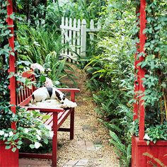 Create Garden Art - While arbors are traditionally painted white or left their natural wood color, you can add extra eye-appeal by painting yours in bold, bright colors. They become a focal point and a work of garden art.