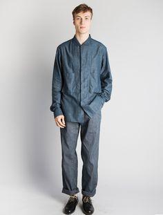 Christophe Lemaire Blue Convertible Collar Shirt