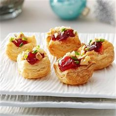 Brie Cherry Pastry Cups Recipe -These yummy little appetizers almost taste like dessert. They are always a big hit at parties. —Marilyn McSween, Mentor, Ohio