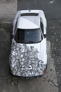 """PYC auf Opel GT Junior 1972 - Art Car. feat. ATEM (Hinterteil) special thanx to Thomas Kypta"" -- Many more pics at the link. http://pycpyc.wordpress.com/2012/01/30/art-car/  /// #artcar #wrap #carwrap"