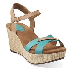 Caslynn Regina in Turquoise Leather - Womens #Sandals from Clarks | Tropical Safari | spring trends