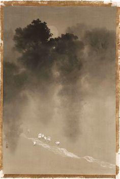 Landscape Moonlight in the Woods Yokoyama Taikan Japanese, about Museum of Fine Arts, Boston Art Asiatique, Tinta China, Art Japonais, Japanese Painting, Japanese Prints, Japan Art, Museum Of Fine Arts, Ink Painting, Woodblock Print