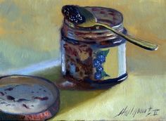 Grape Jelly with Spoon 5 x7 Original Oil on panel By HALL GROAT II, painting by artist Hall Groat II