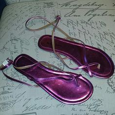 NWOT NEVER WORN metallic pink gladiators NWOT metallic Fushia pink sandals with strap that ties  around ankle. ** lowest price ** Michael Antonio Shoes Sandals