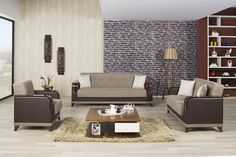 Almira Sofa Set in Comet Brown Fabric by Casamode