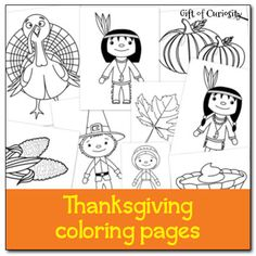 Free #Thanksgiving coloring pages - 9 Thanksgiving images for kids to color for the holiday. #freeprintables || Gift of Curiosity