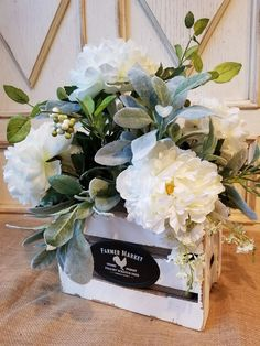 Beautiful White Peony arrangement with lambs ear and more Lambs Ear White Peony arrangement, Farmhouse arrangement, Vintage, English garden by FarmHouseFloraLs on Etsy