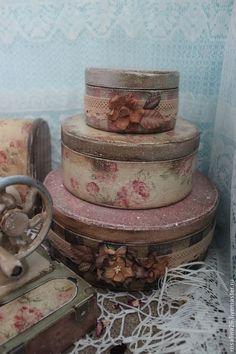 """Набор шкатулок """"Белошвейка Полли Этс"""" - шкатулка деревянная,дерево,швейные принадлежности"""