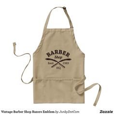 Vintage Barber Shop Razors Emblem Adult Apron @zazzle #junkydotcom Aug 17 2016  51x