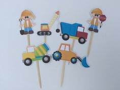 Cute Construction Cupcake Toppers by DianasDen on Etsy