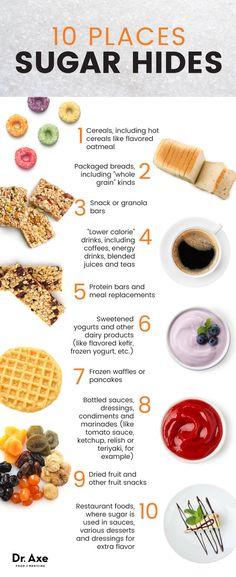 10 places sugar hides - Dr. Axe http://www.draxe.com #health #holistic #natural