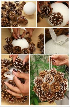 DIY Pinecone Poms for Winter Weddings. A budget-friendly way to create a chic winter look all your own wiht this pom balls with pine cones for your winter occasion. Handmade Christmas Crafts, Rustic Christmas, Christmas Projects, Holiday Crafts, Christmas Holidays, Christmas Ideas, Minimal Christmas, Natural Christmas, Pine Cone Decorations