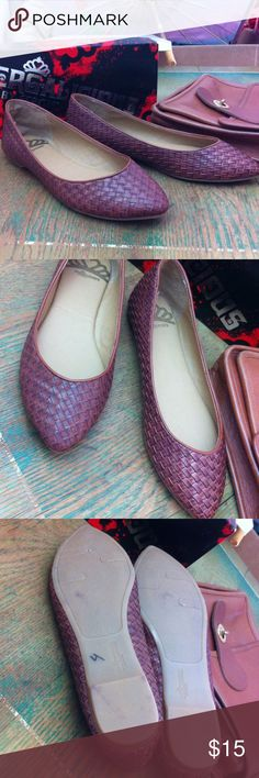Woven brown leather flats by Fergalicious New in box flats , all man made materials but looks like woven leather. Tag size 7 Fergalicious Shoes Flats & Loafers
