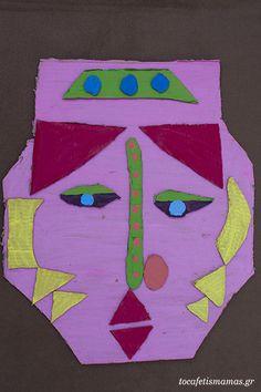 Πρόσωπα από χαρτόκουτα. - To Cafe tis mamas Symbols, Letters, Diy Crafts, Logos, Art, Art Background, Icons, Letter, Kunst