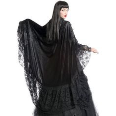 Orla Black Velvet Lace Gothic Cape by Sinister ($145) ❤ liked on Polyvore featuring outerwear, hooded cape coat, gothic cape, black cape, velvet hooded cape and lace cape